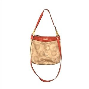 Coach Ashley dotted OP art 2 way orange/tan bag.